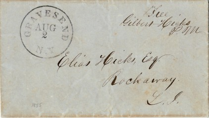 Letter from Gilbert Hicks to Elias Hicks, postmarked Gravesend, 2 August 1855 (Collection of Joseph Ditta)