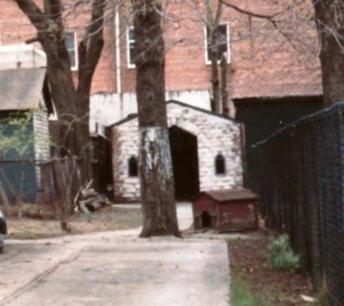 Closeup of the chapel behind 38 Village Road North, taken Wednesday 9 April 1986. (Collection of Joseph Ditta)