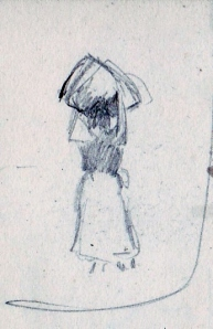 Charles W. Bauhan (1861-1938), sketch of a dandelion gatherer, April 25, 1911. (Collection of Joseph Ditta)