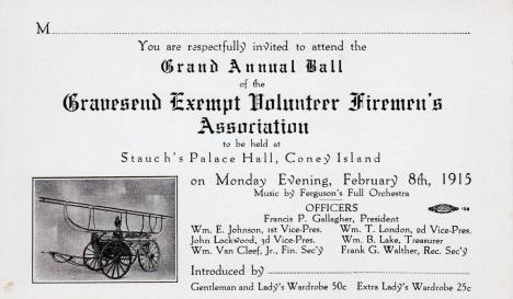 Invitation to the 1915 ball of the G.E.V.F.A. at Stauch's Palace Hall, Coney Island. [Collection of Joseph Ditta]