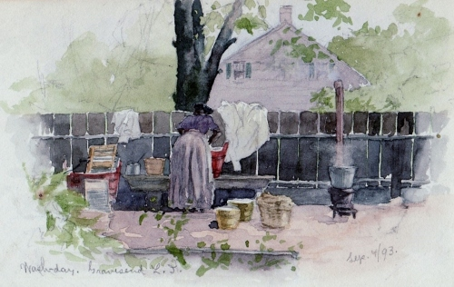 This 1893 watercolor of an African-American laundress by Charles W. Bauhan --