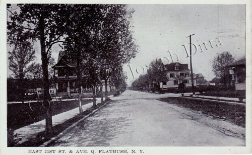 "Postcard view looking north up East 21st Street to ""Ave. Q,"" now Quentin Road. The house behind the trees is still standing at 2023 Quentin Road. [Collection of Joseph Ditta]"