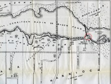 "Detail of a map of Gerritsen's mill pond from Reginald Pelham Bolton's 1922 ""Indian Paths in the Great Metropolis."" The mill is circled in red. Note the bridge carrying Avenue U over the pond."