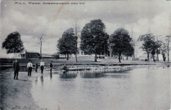 "Another view from the same series of postcards: ""Mill Pond, Sheepshead Bay, N.Y."" {Collection of Joseph Ditta}"