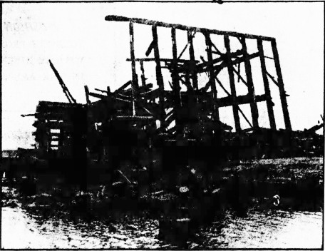 The charred remains of Gerritsen's Mill. Photograph from the Brooklyn Eagle, September 4, 1935, p. 13.