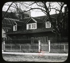 This lantern slide of the Hicks-Platt House (a.k.a. Lady Moody's House) is dated circa 1905, but it must be later, since P.S. 95, constructed in 1914-15, looms to the left. {Collection of the Brooklyn Historical Society.}