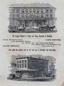 Johnston Brothers, grocers, advertising card (back), 1882. {Collection of Joseph Ditta}