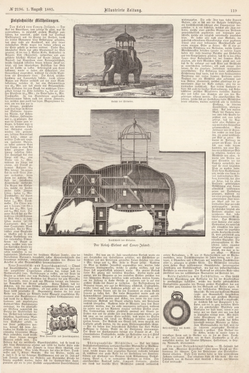 """Der Koloss von Coney-Island,"" Illustrirte Zeitung, August 1, 1885, p. 119. [Collection of Joseph Ditta]"