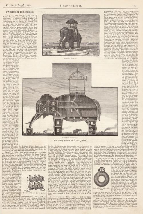 """""""Der Koloss von Coney-Island,"""" Illustrirte Zeitung, August 1, 1885, p. 119. [Collection of Joseph Ditta]"""