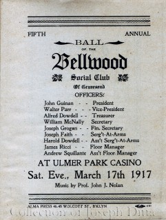 List of officers, Bellwood Social Club of Gravesend, 1917. {Collection of Joseph Ditta}