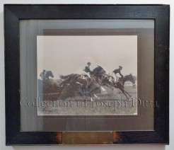 "Brooklyn Jockey Club, Gravesend, Monday, June 8, 1908, second race, Steeplechase, won by ""Simon Pure, followed by ""Henderson,"" ""Waterspeed,"" and ""Boadwee."" {Collection of Joseph Ditta}"