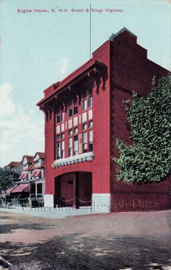 Early 20th-century postcard showing the firehouse at 1635 East 14th Street. {Collection of Joseph Ditta}