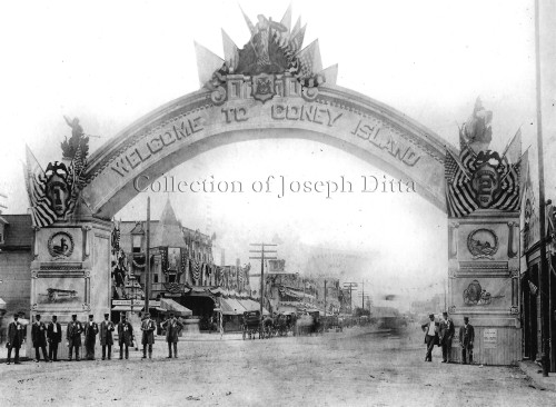 Looking west through the temporary arch over Surf Avenue at West 8th Street, Coney Island, August 1893 {Collection of Joseph Ditta}