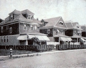 A 1909 view of 2637, 2639, and 2647 (demolished) East 19th Street.
