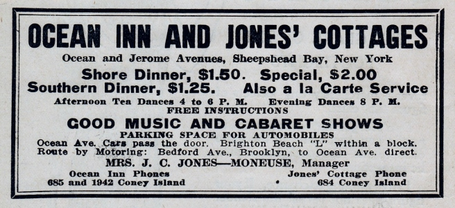 A 1913 advertisement for Ocean Inn and Jones' Cottages.