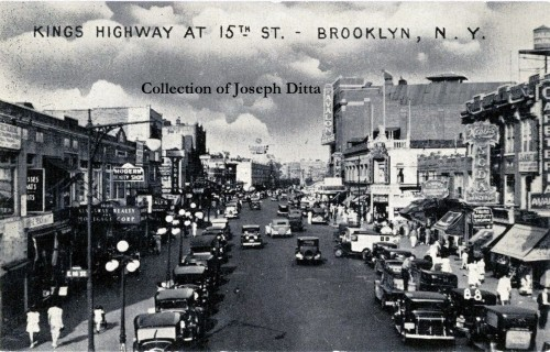 Kings Highway in its heyday, looking east from the Brighton Line. Note the Avalon Theatre, at right. {Collection of Joseph Ditta}