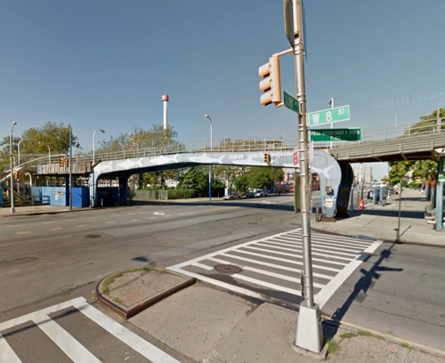 The New York Aquarium's pedestrian bridge spanning Surf Avenue as it looked in June 2011 {Courtesy of Google Street View}.